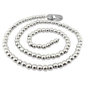 Men Style 5 MM Ball Silver 316 L Stainless Steel Circle Chain