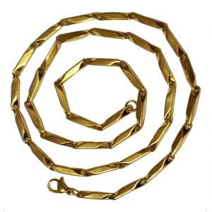 Men Style 4mm Plain Design Gold 316 L Stainless Steel Chain