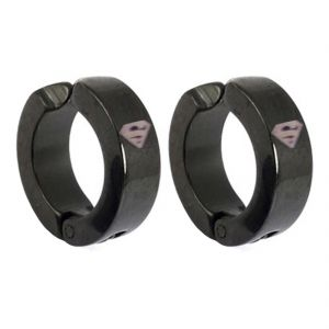Men Style Superman Inspired Clip On Black 316 L Stainless Steel Round Clip