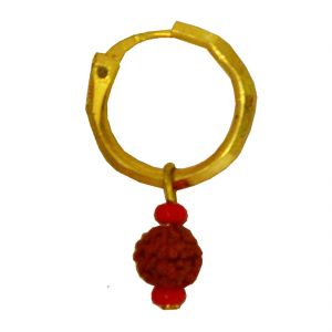 Men Style Rudraksha Gold Wood Round Hoop Earring For Men And Boy Ser04001