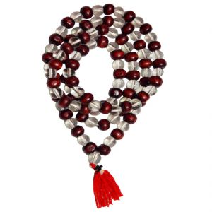 Men Style Redwood Tulsi Red Crystal (sphatik-mala) Bead Necklace