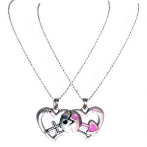 Men Style Silver Couple Love You Heart Mangnetic Pendent