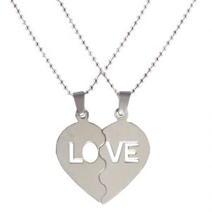 Silver Look Trendy Couple Heart Lockets With Chain Pendent