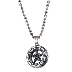 Men Style Motorcycle Wheel Bike Silver Stainless Steel Tier Necklace Pendent For Men And Boys Spn011002