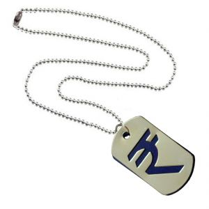 Men Style Rupees Sysmbol Blue And Silver Stainless Steel Square Necklace Pendent For Men And Women Spn011005