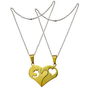 Men Style Gold Couples Heart I Love You Dolphin And Heart Stainless Steel Pendent Spn011019