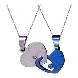 Men Style Silver And Blue Stainless Steel Couples Heart I Love You Pendent Spn011023