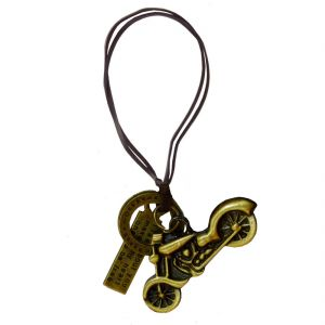 Men Style Boroze Motor Cycle Gold Bronze And Leather Jesus Cross Pakkad Necklace Pendant For Men And Boys