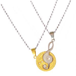 Men Style New Love Couple His And Hers Necklace For Lovers Moon Music Note