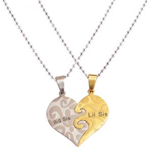 Men Style New Love Couple His And Hers Necklace For Lovers Big Sis Lil Sis