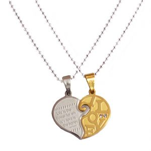 Men Style New Love Couple His And Hers Necklace For Lovers Love Gold- Silver