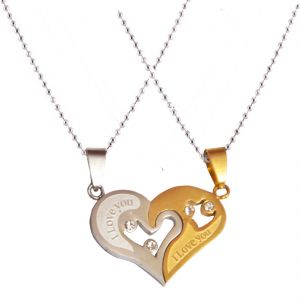 Men Style New Love Couple His And Hers Necklace For Lovers I Love You Gol