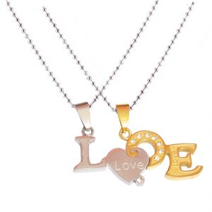 Men Style New Love Couple His And Hers Necklace For Lovers Alphabat Heart