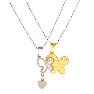 Men Style New Love Couple His And Hers Necklace For Lovers Four Leaf Clover