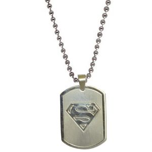 Men Style Superman Inspired Silver S Plated Silver Stainless Steel Square Pendent For Men Spn04001