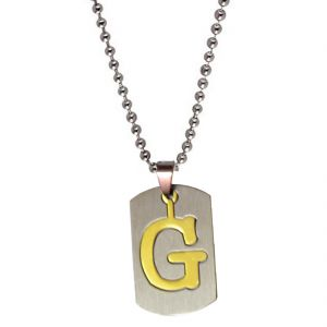 "Men Style Alphabet Letter ""g"" Plated Silver Stainless Steel Pendent For Men And Women Spn04027"