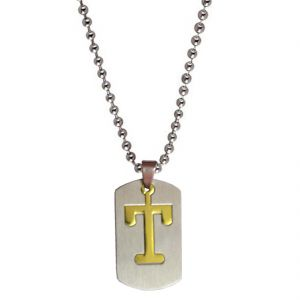 "Men Style Alphabet Letter ""t"" Plated Silver Stainless Steel Pendent For Men And Women Spn04028"