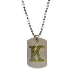 "Men Style Alphabet Letter ""k"" Plated Silver Stainless Steel Pendent For Men And Women Spn04029"