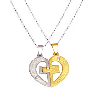 Men Style His And Her Couple Love Gold And Silver 316 Stainless Steel Heart Shape Pendent For Men And Women Spn05001