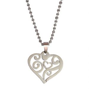 Men Style New Design Love Silver 316 Stainless Steel Heart Shape Pendent For Men And Women Spn05011