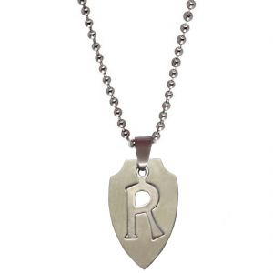 "Men Style Alphabet Letter ""r"" Cutting Silver 304l Stainless Steel Apple Shape Pendent For Men And Women Spn05025"
