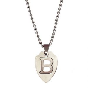 "Men Style Alphabet Letter ""b"" Cutting Silver 304l Stainless Steel Apple Shape Pendent For Men And Women Spn05026"