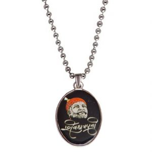 Men Style Shiv Chhatrapati Multicolor Alloy Oval Pendent For Men Spn05030