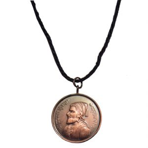 Men Style Shri Chhatrapati Shivaji Maharaj With Rajmudra Brown Copper Round Pendent For Men And Women Spn05076