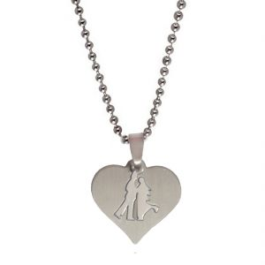 Men Style High Polished Cutting Couple Love Silver Stainless Steel Heart Pendent For Men And Women Spn05081