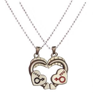 Men Style New Arrival Couple Her And His Heart Shape Love Magnetic Grey Alloy Heart Pendent For Men And Women Spn05089
