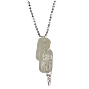 Men Style Best Quality Military Name And Bullet Dog Tag Silver Stainless Steel Sqaure Pendent For Men And Women Spn05091