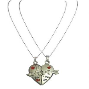 Men Style Couples His And Hers I Love You Necklance With Chains (2 Pieces - His And Her) - Silver For Spn07005
