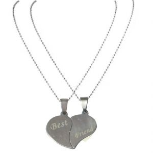 Men Style 2016 New Arrival Couples Broken Heart Joined Love Best Friend Necklace Silver Heart Pendant