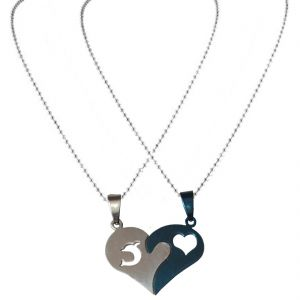 "Men Style ""i Love You And Fish ""blue/silver Tone Matching Hearts Lovers Couple Blue And Silver Heart Pendant"