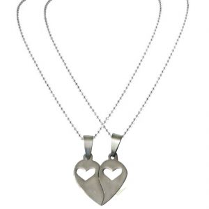"Men Style 2016 New High Polished ""i Love You "" Dual Tone Silver Tone Matching Hearts Lovers Couple Heart Pendant"