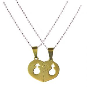 Men Style High Polished Male Female Symbol Couple Necklaces Engagement Pendent