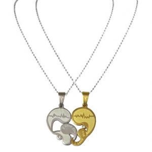 """Men Style Couples """"I Love You"""" Crystal Silver Gold Heart Valentine's Silver And Gold Heart Pendant"""