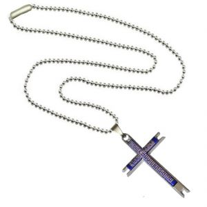 Men Style Stylish Bible Jesus Christ Crucifix Christian Cross Blue Stainless Steel Jesus Cross Pendant