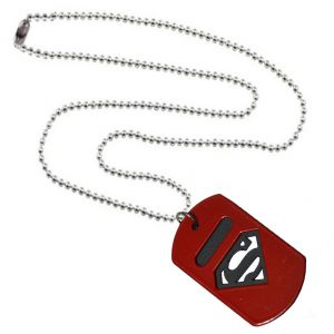 Men Style Man Of Steel Superman Inspired Red And Black Stainless Steel Square Pendant
