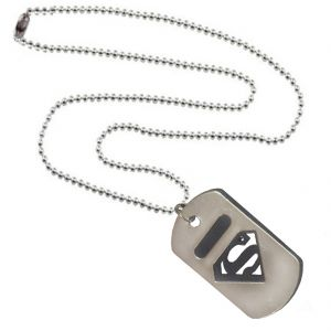 Men Style Selling Man Of Superman Inspired Silver And Black Stainless Steel Square Pendant