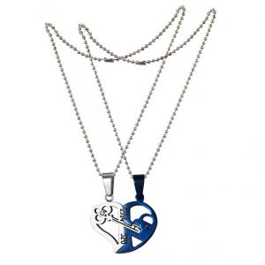 "Men Style Couple His And Her"" I Love You"" And Key Combined Heart Heart And Key Pendant (product Code - Spnoct016)"