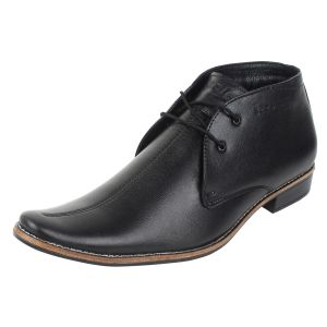Molessi Mens Black Leather Ankle Shoes - ( Code - Ml15ac102s_p )