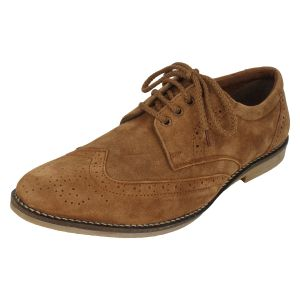 Men's Footwear - Molessi Mens Genuine  Suede Leather Brouge Casual Shoes -Brown - ( Code - ML15BR411S_P )