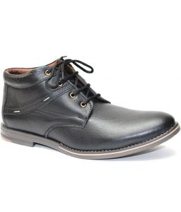 Molessi Mens Black High Ankle Geniune Leather Shoe - ( Code - Ml15c060s_p )