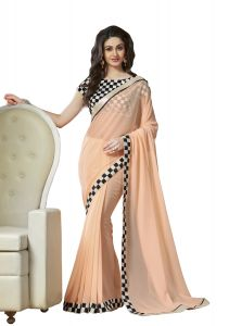 Stylish Fashion Embroidered Party Wear Peach Saree With Embroidery Blouse