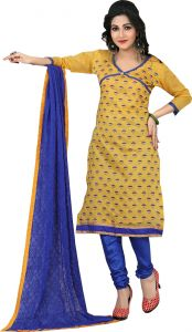 Stylish Fashion Yellow Embroidered Straight Suit-sfp18-2075