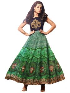 Stylish Fashion Fabulous Green Neck Embroidered Designer Semi Stitched Long Anarkali Suit-sfmaskeenl-3403