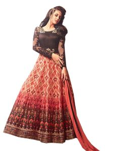 Stylish Fashion Fantastic Peach And Brown Neck Embroidered Designer Semi Stitched Long Anarkali Suit-sfmaskeenl-3407