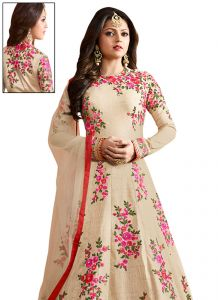 Stylish Fashion Fabulous Beige Embroidered Semi Stitched Long Anarkali Suit-sfltnitya-97002