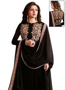 Stylish Fashion Smashing Black Embroidered Semi Stitched Long Anarkali Suit-sfltnitya-97005